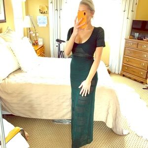 Green Bohemian Crochet Long Maxi Dress Small NEW